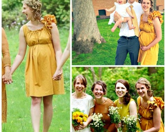 Mustard Maternity Dress Size Small Reversible Citrine Gold Ruffle Baby Shower Fall Knee Length Patisserie Womens