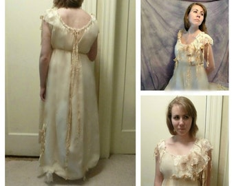 "Firefly Wedding Gown Size Medium Large 38 to 42"" Bust, Maxi Boho Gypsy Ready To Ship Long Eco Cotton Lace Wedding Womens by Savoyfaire"
