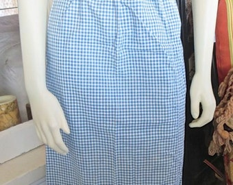 1920s Authentic Blue Gingham Cotton Long Apron Cross Stitch Baskets