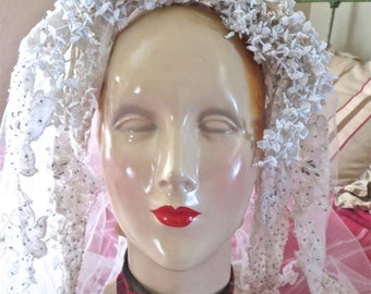 Amazing 1960s Loaded Wedding Tiara Seed Pearls Glass Beads Flowers Lavish Lace Nine Foot Train