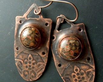 Cartouche - rustic, copper, shield shaped, jasper cabochon, original handmade earrings by Vintajia Adornments
