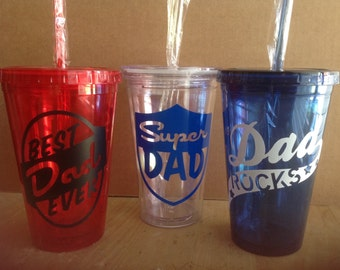 Vinyl Decal Fathers Day Tumbler