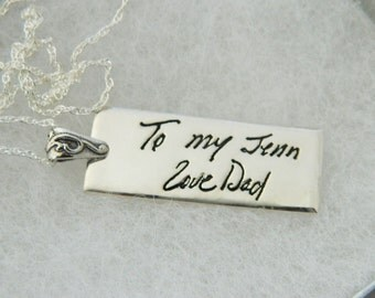 Handwriting Pendant In Memory Signature Jewelry in Sterling Silver