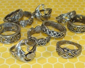 5 Assorted Hippie Rings Pewter USA Made Friendship Rings Celtic Knots Frogs Moon and Heart Flower Floral Vine Small Sizes 4-5-6 Teens NOS