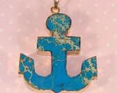 Blue Anchor Charm Pendant Aqua Sea Sediment Gold Plated Edge Turquoise Geode Druzy Agate Quartz Necklace Stone Jewelry Supplies (A)