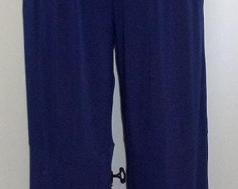 Plus Size Pants Lagenlook Coco and Juan Plus Size Navy Blue Traveler Knit Wide Leg Pant  Size 2 fits 3X,4X