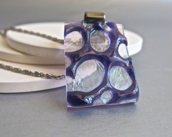 Purple Lace Hand Made Fused Glass Long Pendant Necklace