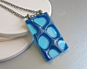 Blue Lace Hand Made Fused Glass Long Pendant Necklace