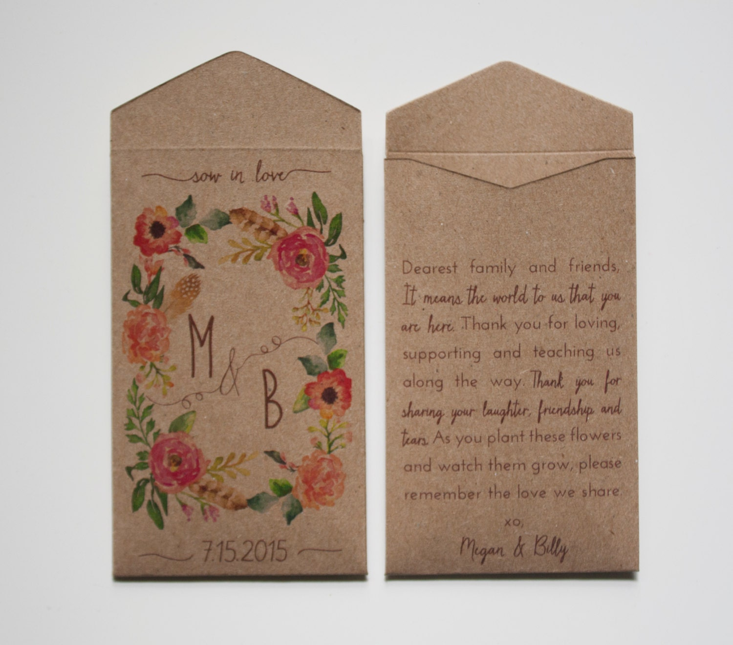 Let Love Grow Custom Rustic Wedding Favor Seed Packet