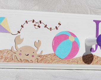 Children's Beach Towel Hooks with Kite . Crab . Beach Ball . Sand Castle . Summertime . Sand . Jordanna
