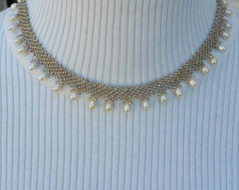 BeadWoven Pearl Drop Necklace - Beadwork -Seed Beads