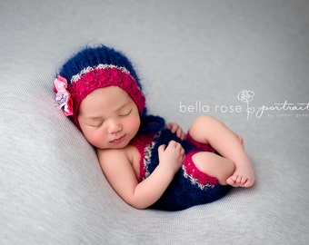 Romper Set Newborn Bonnet Photo Prop Baby Girl Shorts Overalls Mohair Knit Bodysuit Going Home Outfit Newborn Lace Knitted Coming Home Hat