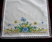 Vintage Table Runner Embroidered Floral Butterflies Pansy Yellow Blue Green Unused New Old Stock