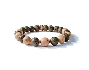 Aromatherapy Stretch Bracelet, Natural Lava Stones and Grainstone, Essential Oil Diffuser Jewelry