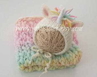 Unicorn Bonnet (pastel version) Newborn Photography Prop