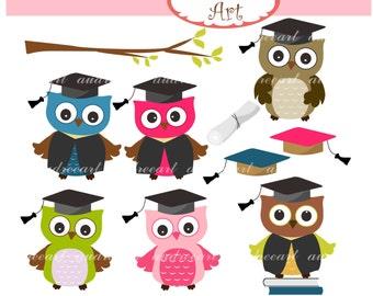 Owls clip art , cute graduated owls clip art, Graduation Owls, Cute owls digital clipart, Graduation clip art,