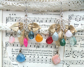 spring gemstone earrings assemblage nature leaves dangles romantic romance cottage chic