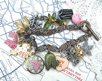 upcycled jewelry bracelet eclectic charm assemblage found object random mix