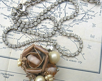 winter floral pendant necklace assemblage recycle rhinestone choker holiday upcycle jewelry