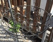 Vintage metal hanging plant basket