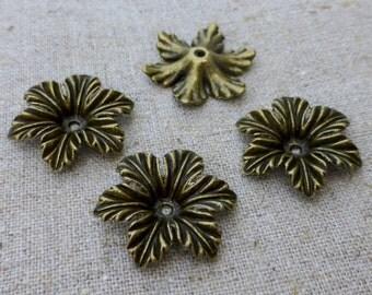Free UK shipping - 10 pcs Antique Bronze Floral Bead Cap