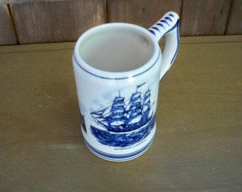 Vintage Serving Delft Blue White Whaleship Tankard Mug Collectible Holland