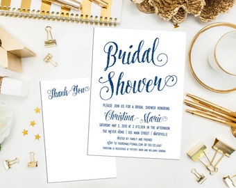 Blue Glitter Bridal Shower Invitations & Recipe Card. Digital Printable Bridal Shower. Party Invite. Bridal Shower. Wedding. Glitter Invite.