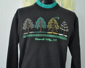 Faded Sweatshirt  Waterville Valley NH Black Teal Aqua trees Fall Seasons Nature Leaves Double Collar