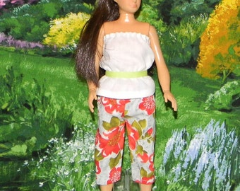 LMLY-182) Lammily doll clothes ( grey with orange and green capri pants with white top and lime green belt)