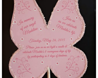 10 Butterfly or Fairy Garden Tea Party Tinkerbelle inspired Birthday Wand Invite Invitations or Angel wings Memorium Celebration of Life