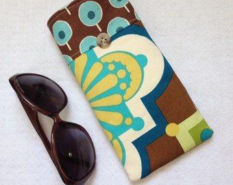 Sunglasses Case, large size glasses sleeve, brown, gold and teal blue medallion cotton,  eyeglass cozy, soft case, gift for women