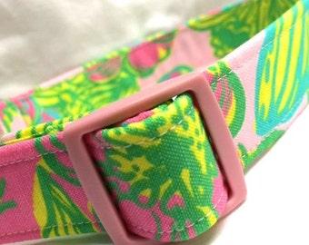Lilly Pulitzer Fabric Dog Collar Girl Koala Biq Squeeze Pink Green Yellow Aqua Boy