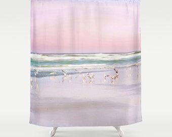 Beach Fabric Shower Curtain, ocean, coastal decor, home decor,pastel,nautical decor,seagull,seashore,dreamy,purple,pink