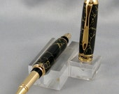 Black with Gold Matrix Tru Stone Rollerball