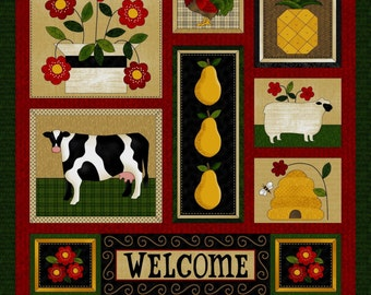 "NEW Folk Art Fabric Panel 24"" x 44""  for Quilt or Craft"