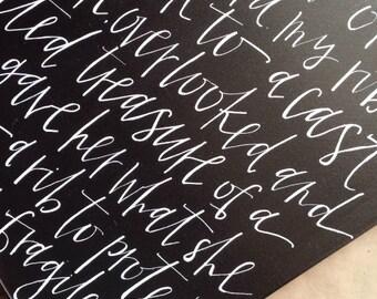 CUSTOM handwritten canvas art