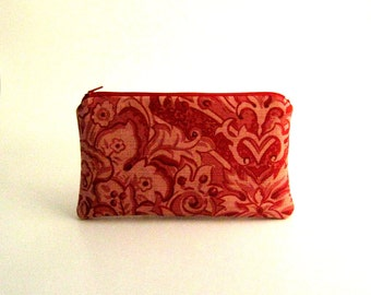 Red Pouch, Zipper Pouch, Pouch, Pencil case, Cosmetic pouch