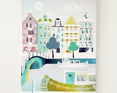 Amsterdam Canvas Wall Art, Bridges and Canal Boats, Cityscape, illustration, ready to hang. Home, Office, Childs, Kids and Nursery decor