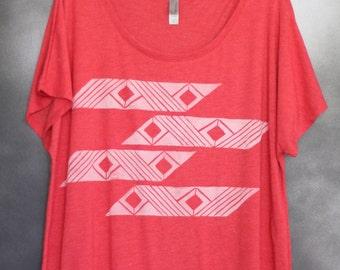 Women's Blouse, Red, with White Horizontal Mauna/Lā (Mountain/Sun) Pattern