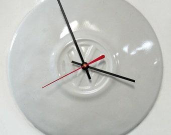 White VW Wall Clock - Volkswagen Beetle Hubcap Clock - Volkswagon Bug