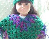 READY TO SHIP - Poncho and Matching Hat 2pc Set fits American Girl Dolls - Green with Purple Ombre