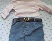 READY TO SHIP - Denim Skirt with White Turtleneck Shirt & Belt 3pc Set fits American Girl Dolls 18 inch Dolls
