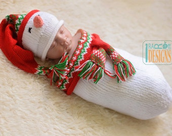 Snowman Hat and Cocoon Set for Newborn -  READY to SHIP