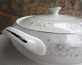 Vintage English Garden Platinum by Fine China of Japan Covered Vegetable Bowl