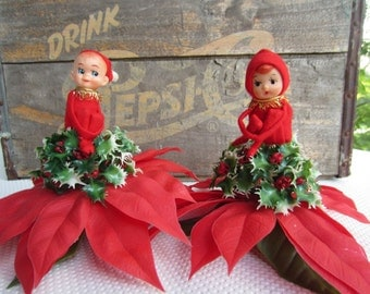 Vintage Elf Knee Hugger Pixie on Poinsettia Centerpiece Pair of Christmas Elf