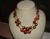 reserve4erica-moonglow necklace with  other beads- great combo- 1950s 2 row big boy beads too - nice clasp