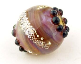 Lampwork Glass Beads SRA Iridescent Hot Pink Blue Purple Silver 'Silver Sunset 2'