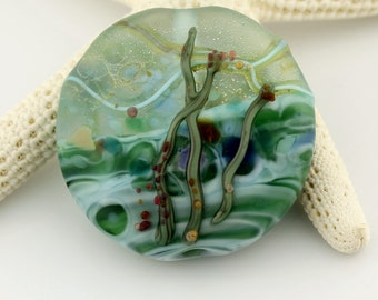 Lampwork Bead Glass Etched Lentil Focal Turquoise Blue Green 'Ocean Flora'