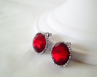 red rhinestone earrings,  red rhinestones, rhinestone jewelry,  clip ons, vampire earrings, deep red, victorian earrings