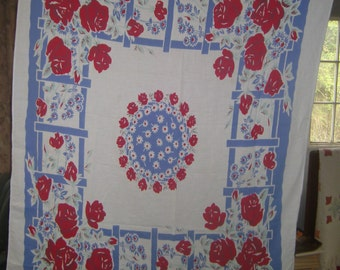 1950s Print Kitchen Table Cloth - Red Rose Arbor